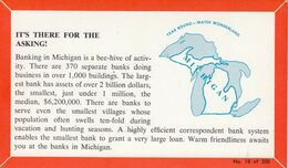 MICHIGAN, 1940-60s; Fact Card, No. 18 Of 200, Banking In Michigan Is A Bee-hive Of Activity - Etats-Unis