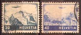 Schweiz Suisse 1948: Farbänderungen Zu F43-44 Mi 506-7 Yv PA 43-44 Mit Eck-Stempel (Zu CHF 20.00) - Luftpost