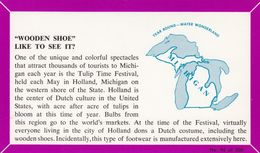 """MICHIGAN, 1940-60s; Fact Card, No. 96 Of 200, """"Wooden Shoe"""" Like To See It? - Etats-Unis"""