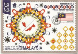 COVID19/MALAYSIA . Tribute To All Medical Heroes & Health Workers, Postcard Sent To Andorra,with Arrival Postmark - Santé