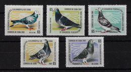 CUBA 2001. CONGRESO DE LA FEDERACIÓN COLOMBÓFILA. MNH. EDIFIL 4534/38 - Nuevos