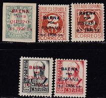 1936. * Edifil: EMISIONES LOCALES PATRIOTICAS BAENA 11/15 - Nationalistische Ausgaben