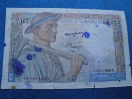Billet Dix Francs Mineur 1949 - 1871-1952 Antichi Franchi Circolanti Nel XX Secolo