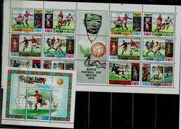 RAS AL KHAIMAH 1970 FOOTBALL WORLD CHAMPIONSHIP MEXICO MINI SHEET+  BLOCK MI No 354-60 + BLOCK 79 MNH VF!! - Altri