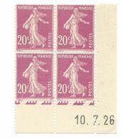 Semeuse Bloc De 4 - 20c Lilas Rose N° YT 190 - Coin Daté 10. 7. 26 - Coins Datés