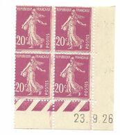Semeuse Bloc De 4 - 20c Lilas Rose N° YT 190 - Coin Daté 23. 9. 26 - Coins Datés