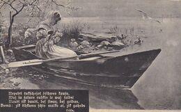 FEMME EN BATEAU. AVEC POESIE. LETTONIE CPA, CIRCULEE 1912 -LILHU - Barche