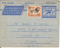 South Africa Uprated Aerogramme Sent To USA Johannesburg 5-7-1957 - Posta Aerea