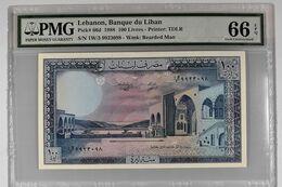 "LEBANON 100 LIVRES 1988 PMG 66 EPQ UNC P-66d ""free Shipping Via Registered Air Mail"" - Liban"