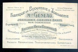 Carte De Visite  Géneau Bijouterie à Lille      AVR20-76 - Cartes De Visite