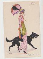 """Carte Fantaisie Signée Xavier Sager   /  Mode - L'allure """"dernier Cri"""" 1913/ Jeune Femme Avec Une Ombrelle Et Son Chien - Sager, Xavier"""