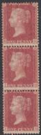 Great Britain 1857 MH Sc #20 1p Victoria, Red Brown Perf 14 Vertical Strip Of 3 - 1840-1901 (Regina Victoria)