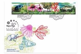 HUNGARY - 2020. FDC Strip - Hungarian Natural Assets / Dor Beetle / Purple Coneflower / Tatar Maple / Zander Fish MNH!!! - FDC