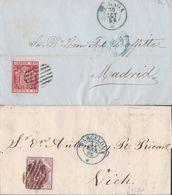 1862-DOS CARTAS-Edifil: 24, 33. ESCUDO DE ESPAÑA. BARCELONA A MADRID Y VICH - Storia Postale