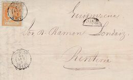 1862-CARTA-Edifil: 52. ISABEL II. GIJON A RENTERIA. Matasello GIJON / OVIEDO - Storia Postale