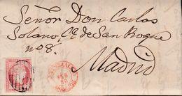 1856-CARTA-Edifil: 48. ISABEL II. ALMENDRALEJO A MADRID. Fechador ALMENDRALEJO / BADAJOZ, Tipo I, En Rojo - Storia Postale