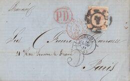 1866-CARTA-Edifil: 82. ISABEL II. CORUÑA A PARIS - Storia Postale