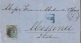 1869-CARTA-Edifil: 100. ISABEL II. BARCELONA A MESSINA (ITALIA) - Storia Postale