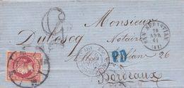 1861-CARTA-Edifil: 53. ISABEL II. SAN SEBASTIAN A BURDEOS. Matasello R.CARRETA Nº 41 - Storia Postale