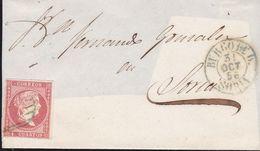 1856-FRONTAL-Edifil: 48. ISABEL II. BURGO DE OSMA A SORIA. Matasello PARRILLA, Fechador BURGO DE OSMA / SORIA I, Azul - Storia Postale