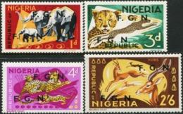 NIGERIA 1968 F.G.N. Double Overprints Overprint Elephants Cheetah Leopard Ugandan Kob Antelope Animals Fauna MNH - Elefanten