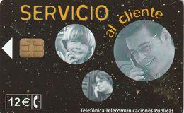 TARJETA TELEFONICA DE ESPAÑA. USADA. 01.02 - TIRADA 21200 (468). SERVICIO AL CLIENTE. - Spagna