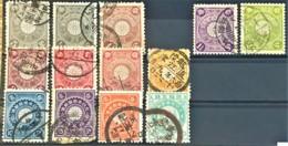 JAPAN 1899-1907 - Canceled - Sc# 91, 92, 93, 95, 96, 97, 98, 99, 100, 103, 104, 105, 106 - Japan