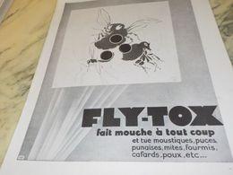 ANCIENNE PUBLICITE FAIT MOUCHE FLY-TOX 1930 - Autres