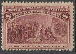 US  1893    Sc#236  8c Columbian  MLH   2016 Scott Value $52.50 - Unused Stamps
