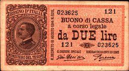 19935) BANCONOTA DA 2 LIRE BUONO DI CASSA VITTORIO EMANUELE III DECR 14 -03-1920-banconota Non Trattata.vedi Foto - [ 1] …-1946: Königreich