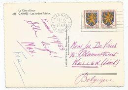 BLASON 3FR FRANCHE COMTE PAIRE CARTE 5 MOTS CANNES 2.9.1953 POUR BELGIQUE AU TARIF - 1941-66 Stemmi E Stendardi