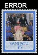 VANUATU 1987 Ruby Wedding 35v.OVPT:40TH WEDDING ANNIVERSARY.ERROR:inverted Overprint - Vanuatu (1980-...)
