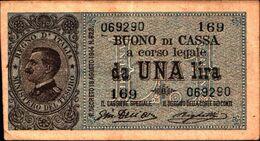 19949) BANCONOTA Di VITTORIO EMANUELE III BUONO DI CASSA DA 1 LIRA DEC.28/12/1917-banconota Non Trattata.vedi Foto - [ 1] …-1946: Königreich