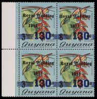 GUYANA 1982 Flowers Diana Wedding Hanging Heliconia 130/60/3c OVPT.MARG.4-BLOCK - Guyana (1966-...)