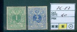 26 Et 27 X   Côte 40.00€ - 1869-1883 Leopold II