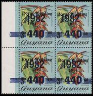 GUYANA 1982 Flowers Diana Wedding Hanging Heliconia 440/60/3c MARG.4-BLOCK OVPT.horiz. - Guyana (1966-...)