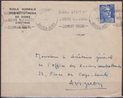 """Enveloppe De 1953 Avec Entete PUB """" Ecole Normale D'Institutrices De DIGNE """" - Advertising"""
