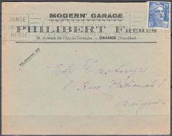 """Enveloppe De 1953 Avec Entete PUB """" MODERN' GARAGE """" à ORANGE Vaucluse - Advertising"""