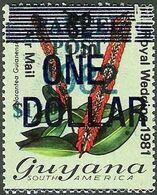 GUYANA 1983 Flowers Diana Wedding Norantea Guianensis OVPT:$1/$12 1.10/$2 - Guyana (1966-...)