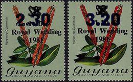 GUYANA 1983 Flowers Diana Wedding Narantea Guianensis OVPT:2.30/110C/$2:3.20/110C/$2 - Guyana (1966-...)