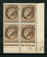Préoblitérés 1947 N° 93 ** Bloc De 4 Coin Daté Neuf MNH Superbe  C 7,50 € Type Cérès De Mazelin - 1893-1947