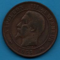 FRANCE 10 CENTIMES 1855 D Chien NAPOLÉON III TÊTE NUE F.133/24 - France
