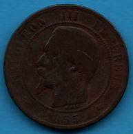 FRANCE 10 CENTIMES 1855 K Chien NAPOLÉON III TÊTE NUE F.133 - France