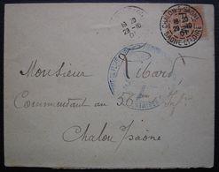 1901 Chalons Sur Saône Cachet Régiment D'infanterie De Ligne Et Timbre 15 Centimes Avec F.M - Bolli Militari A Partire Dal 1940 (fuori Dal Periodo Di Guerra)