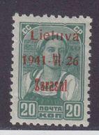 Dt.Bes.2.WK Litauen Zarasai MiNr. 4bIII ** Gepr. - Besetzungen 1938-45