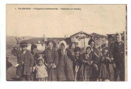 CPA Grèce Greece Salonique Villageois Endimanchés Enfants Peasants On Sunday Children - Griechenland