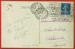 """PARIS XVI Place CHOPIN-  1921 - FLIER- """" Portez Votre Courrier à La Poste ...  """"s/ CP Bleue PARIS Le Sacré-Coeur-Cloche - 1921-1960: Periodo Moderno"""
