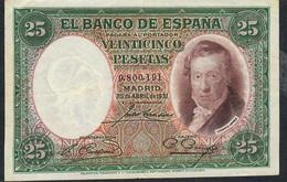SPAIN P81 25 PESETAS 25.4.1931 # 9.800.191  WF-AU - [ 2] 1931-1936 : Repubblica