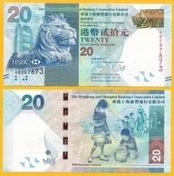 Hong Kong 20 Dollars P-212c 2013 HSBC  UNC - Hongkong