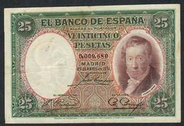 SPAIN P81 25 PESETAS 25.4.1931 # 0.009.680  VF - [ 2] 1931-1936 : Repubblica